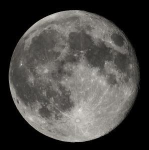 Měsíc krátce po úplňku. Zdroj: Wikipedie.