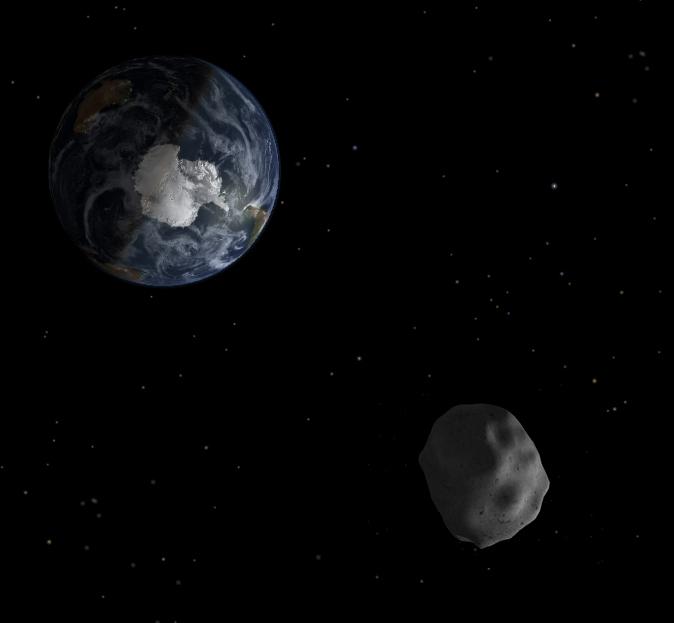 Umělecká představa blízkozemní planetky 2012 DA14 během průletu kolem Země. Zdroj: Wikipedia