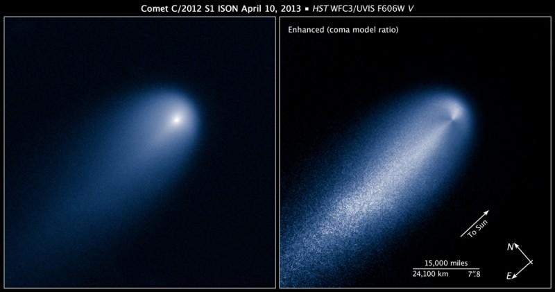 C/2012 S1 (ISON) z HST dne 10. 4. 2013 kamerou WFC3 ve viditelném světle. Zdroj: NASA, ESA, Z. Levay (STScI).