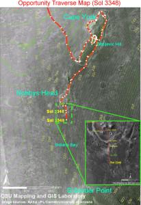Mapa přesunu Opportunity z Cape York na Solander Point. Zdroj: NASA.