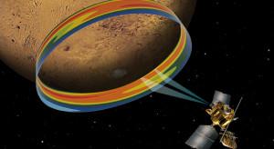 Přístroj Mars Climate Sounder na palubě sondy MRO měří teplotu atmosféry nad polární oblastí Marsu. Zdroj: JPL.