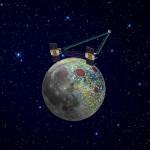 Umělecká představa sond GRAIL nad povrchem Měsíce (sonda a Měsíc nejsou ve stejném měřítku). Zdroj: NASA/JPL-Caltech.