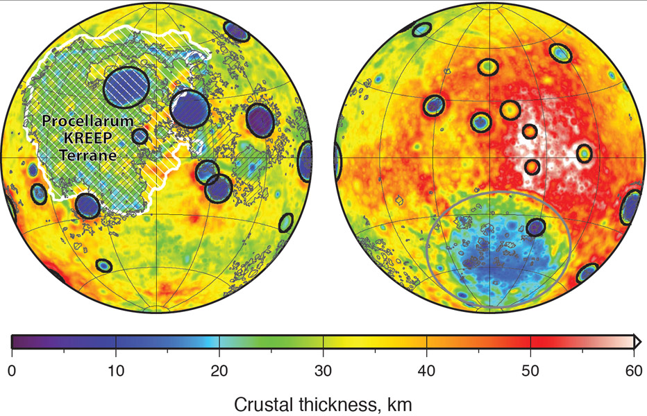 Mapa tloušťky měsíční kůry na přivrácené (vlevo) a odvrácené (vpravo) straně Měsíce. Lambertovo stejnoploché zobrazení. Zdroj: NASA/JPL-Caltech.