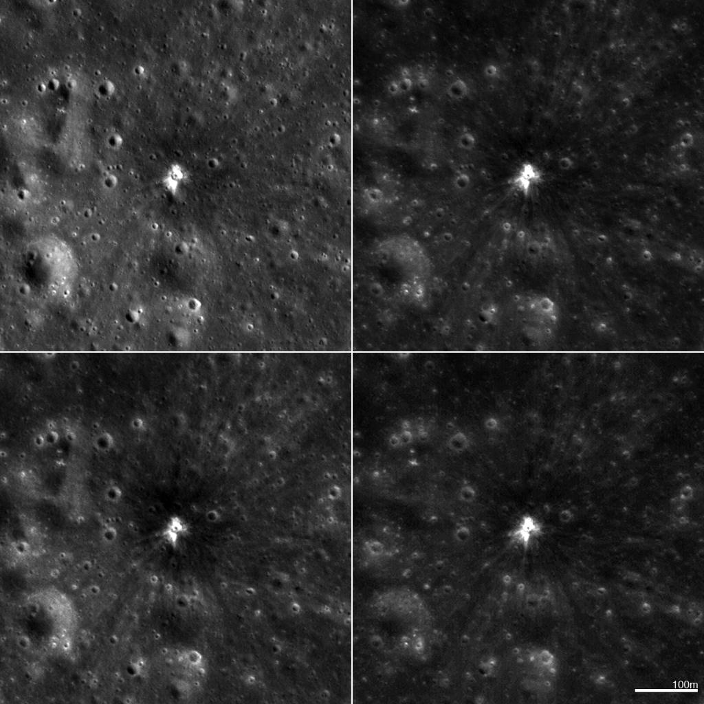 Čtyři různé snímky z NAC zobrazující nový kráter na Měsíci o průměru 18 metrů. Kráter vznikl 17. března 2013. Každý ze 4 obrázků zahrnuje plochu širokou 560 krát 560 metrů. Sever je nahoře. Kliknutím získáte obrázek v plném rozlišení. Zdroj: NASA/GSFC/Arizona State University.