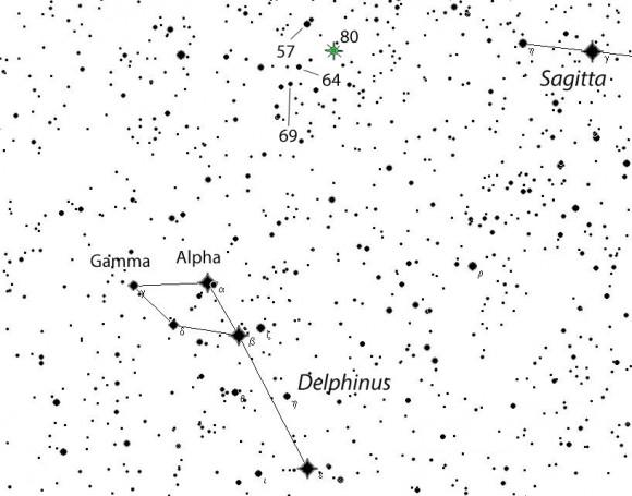 Hledací mapka Novy Delphini. V okolí novy se nachází několik hvězd s podobnou jasností. Vyrobeno v programu SkyMap, autor Chris Marriott. Zdroj: Universe Today.