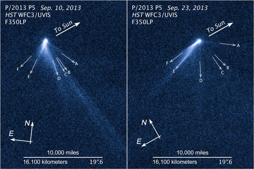 Snímky planetky P/2013 P5 pořízené Hubblovým teleskopem 10. a 23. září 2013. Zdroj: NASA/ESA.